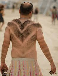 manscaping shaved back chevron pattern
