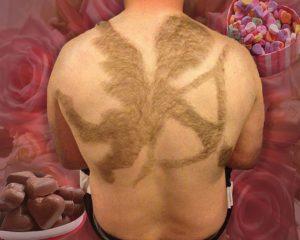 manscaping shaved back hair angel cherub art
