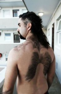 manscaping shaved back hair angel wings