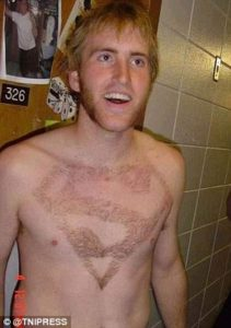 manscaping shaved chest superman logo